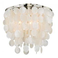 Vaxcel Lighting C0079 Elsa Capiz Shell 16 Inch 3 Light Flush Mount In Satin Nickel With Natural Capiz Shells