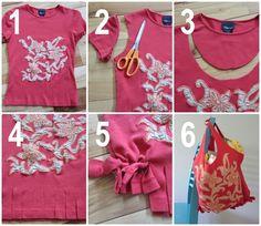 Cómo hacer una bolsa de tela reciclando una vieja camiseta