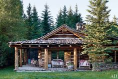 Ralph Lauren's COLORADO GUEST CABIN Blue Pony, one of five guest cabins at Lauren's Double RL Ranch in Colorado, was built using century-old hand-hewn logs from Montana.