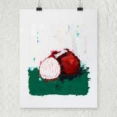 Red Onion Oil Painting, Vegetable Art, Gift for Her, Colorful Wall Art, Kitchen Decor, Unframed Artwork, Impasto Painting, Still Life by ebuchmann on Etsy