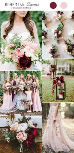 Burgundy and Blush Boho Fall Wedding Color Combos