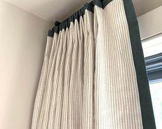Drapery trim | Etsy Tartan Curtains, Linen Curtains, Linen Fabric, Drapery Panels, Curtain Pelmet, Curtain Rods, Custom Window Treatments, Custom Curtains, Rooms Home Decor