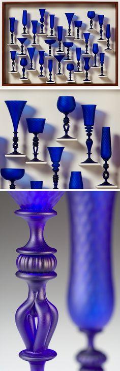 Satin Blue Goblet Study ~ artist Kenny Pieper.   Photo credit David Ramsey.  Corning Museum of Glass, New York  #art #glass #myt