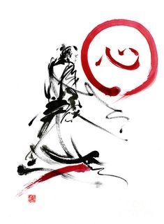 Samurai Enso Circle Wild Fury Bushi Bushido Martial Arts Sumi-e  Painting by Mariusz Szmerdt