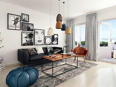 Bilder, Vardagsrum, Blå, tavelvägg, Modernt, Soffa, Svart - Hemnet Inspiration