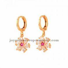 aretes de flor de dorado con cristal para mujer-BREGG101418