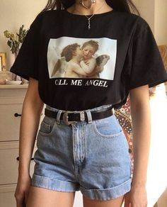 Call Me Angel Oversized T-shirt You& in the right place for great . - Call Me Angel Oversized T-shirt You are in the right place for grunge friends Here we offer yo - Retro Outfits, Vintage Outfits, Outfits Casual, Vintage Shorts, Grunge Outfits, Vintage Tops, Vintage Fashion, Vintage Style, Vintage Art