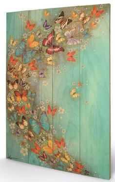 Art Group Chinese Green by Lily Greenwood Painting Arte Pallet, Pallet Art, Painting Wood Paneling, Pallet Painting, Fence Art, Butterfly Art, Butterflies, Painting Inspiration, Wood Art