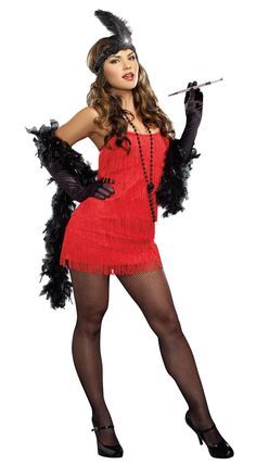 20s Red Flapper Plus Size Dress from Buycostumes.com