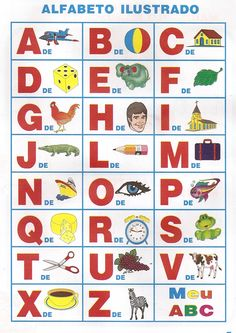 Alfabeto Ilustrado para Imprimir - Desenhos Para Colorir                                                                                                                                                     Mais