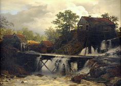 "Andreas Achenbach: ""Mühle im Walde an einem stürzenden Bergwasser"", 1868, oil on canvas, 70 x 100 cm., Private collection."