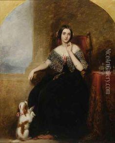 Mrs. Horace Marryat With Her Pet Spaniel Oil Painting - Richard Buckner