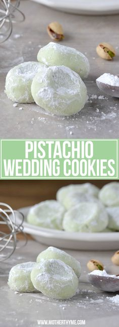 Pistachio Wedding Cookies | Mother Thyme Cookie Desserts, Just Desserts, Delicious Desserts, Dessert Recipes, Cake Recipes, Yummy Food, Pistachio Recipes, Pistachio Cookies, Almond Cookies