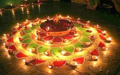 This colorful simple rangoli design for diwali looks amazing.