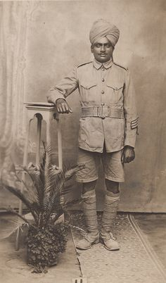 Lance Corporal Venkatasami of the 2nd Queen's Own Madras Sappers and Miners. This Indian unit fought in France, Mesopotamia, Egypt and Palestine during the Great War and provided Engineer support to Indian formations in these campaigns. Venkatasami survived the war and this photograph was taken in Egypt in February 1919. He is wearing the typical uniform of Indian troops in these theatres of war; Khaki Drill tunic and shorts.