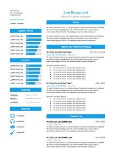 Zeeburg - Modèle de CV Classique - Bleu Resume Design Template, Resume Templates, Cv Curriculum Vitae, Job Title, Professional Resume, Free Resume, Words, Classic, Blue