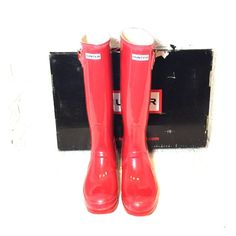 NWOT Red Hunter Boots Red shinny Hunter Boots Reasonable offers welcome. Available in black also. Hunter Boots Shoes Winter & Rain Boots