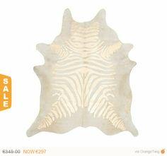 Super Sale Zebra Printed Cowhide Rug - Gold / Pearl