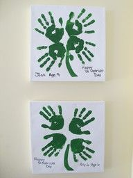 St. Patricks Day handprint shamrock