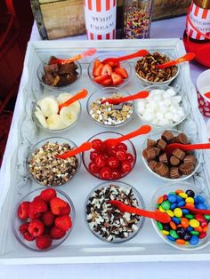 Yummy toppings at an Ice Cream Summer Party!  See more party planning ideas at http://CatchMyParty.com!