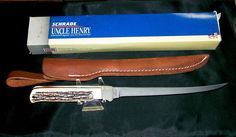 "Schrade 167UH Steelhead Fillet Knife & Sheath 12"" USA Made 1980's W/Packaging @ ditwtexas.webstoreplace.com"