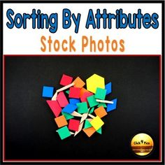 Teach students how to sort objects using real photos of math manipulatives with these 20 photos of colorful geometric shapes that show multiple colors, sizes, and shapes for students to easily learn all about sorting with this set of math stock photos. The photos are great to teach: • how to sort by colors • how to sort by shape • how to sort by sizes • problem solving Example of problem solving activity: