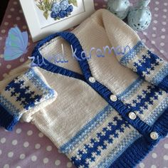 Mavi den desenler - my site Baby Knitting Patterns, Baby Cardigan Knitting Pattern, Knitting Stitches, Crochet For Kids, Knit Crochet, Knit Baby Sweaters, Pullover, Baby Winter, Infant