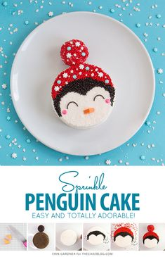Penguin Cake - a sprinkle coated penguin cake that is too adorable for words! A new cake decorating tutorial by our contributor, Erin Gardner. This precious little penguin cake is the perfect treat fo Penguin Cupcakes, Cute Cupcakes, Christmas Treats, Christmas Baking, Christmas Cakes, Candy Videos, Cake Decorating Tutorials, Decorating Cakes, Cake Decorations