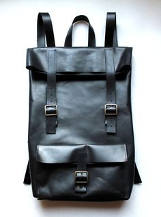 black leather backpack by Klerovski $165