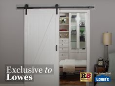 Our soft close technology is exclusive to Lowe's. For a limited time only, receive $30 off when you purchase your new barn door. You can use a barn door as a room divider or closet door and it will transform almost any space in your home.