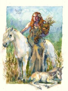 Epona was the Celtic horse goddess,  Roman depiction a woman riding a fast steed, in her original form as a Celtic deity, Epona may have been a mare herself, riderless. It is said she was leader of souls in the afterlife. Often depicted with  a foal suggests that she may also have been a goddess of fertility.