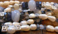"Chloe's Creations Item 301- 66"" Pearl, Iolite & Blue Chalcedony Jewelry Set. by JewelryMadeByChloe on Etsy"