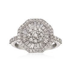 1.52 ct. t.w. Baguette and Round Diamond Fancy Cluster  Ring in 14kt White Gold