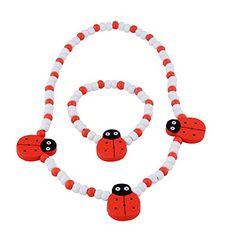 Childrens Jewelry price reduction  Jewelry Set for Little Girls Kids Toddlers Children  Red and White Stretch Necklace and Bracelet