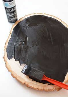 DIY wood slice chalkboard