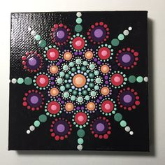 Hand Painted Mandala on Canvas, Mandala Meditation, Dot Art, #379 by MafaStones on Etsy