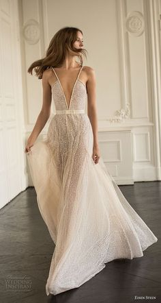 eisen stein 2018 bridal sleeveless thin strap deep v neck full embellishment romantic sexy soft a line wedding dress open back sweep train (4) mv -- Eisen Stein 2018 Wedding Dress