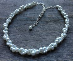 White Pearl Necklace Twisted Clusters on Silver or Gold Chain - Wedding, Bridal, Birthday Gift