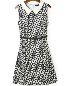 Black White Sleeveless Polka Dot Tank Dress US$25.11