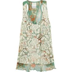 Anna Sui Lace-covered printed silk tank ($264) ❤ liked on Polyvore