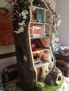 magical play house out of a tree stump #kids #play
