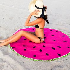 round watermelon towel with pompoms!