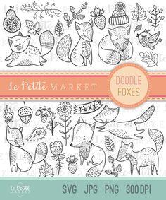Cute Fox Clip Art, Fox Clipart, SVG, Fox Illustration, Digital Fox Instant Download, Hand Drawn Fox Clipart Set, Fox Digital Stamps