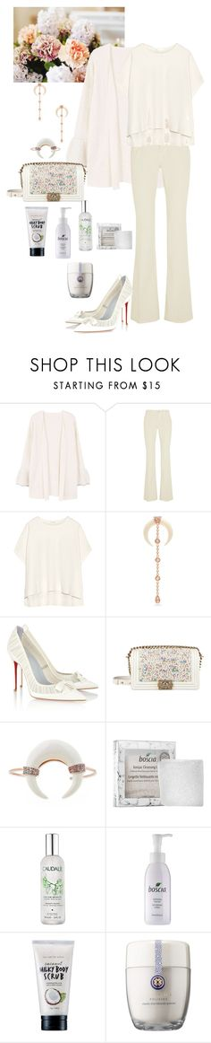"""""""Untitled #1266"""" by alaa88 ❤ liked on Polyvore featuring MANGO, Gucci, James Perse, Jacquie Aiche, Christian Louboutin, Chanel, Boscia, Caudalíe, too cool for school and Tatcha"""