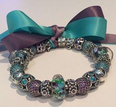 PANDORA Teal and Purple Bracelet!