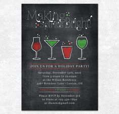 Printable Christmas Invitation - Chalkboard, Making Spirits Bright
