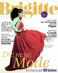 Brigitte Cover, Joy Denalane, Hair & Makeup: Jazz Mang, red dress, big hair, www.basics-berlin.de