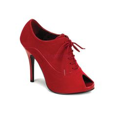 Women's Bordello Wink 01 ($36) ❤ liked on Polyvore featuring shoes, dresses, high heels, red, sexy red shoes, peeptoe shoes, high heel shoes, lace up shoes and red lace up shoes