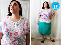 CLEARANCE  Plus Size  Vintage Floral Henley Blouse by TheCurvyElle