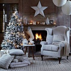 This year, make story time truly enchanting with a big, cozy chair next to the fire in a beautiful room decked out for the holidays.